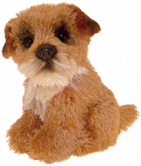 "Border Terrier puppy dog sitting Cuddly toy 6.5"" pocket toy"